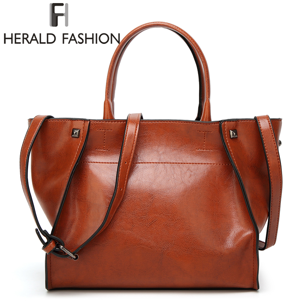 Herald Fashion Luxury Brand Tote Women Leather Handbags Vintage Shoulder Bag Famous Brands Top-Handle Bags Bolsa Feminina Pouch large handbags women messenger bags famous brands designer shoulder bag big top handle tote bolsa feminina new herald fashion