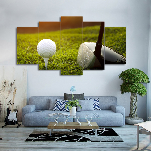 Modern Frames For Paintings Decorative 5 Panel Golf Canvas Art Prints Wall  Picture For Home Decoration