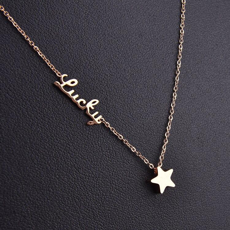 7f0d68660cfb1d NºNouveau lucky star collier couleur or en acier inoxydable ...