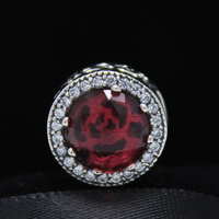 ROCKART Authentic 925 Sterling Silver Belle S Radiant Rose Charm Beauty And The Beast Fits European