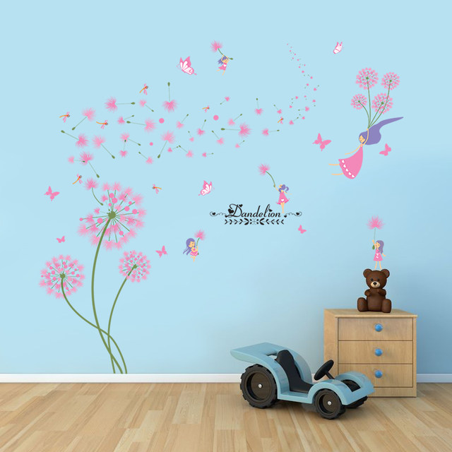 [SHIJUEHEZI] Pink Dandelion Wall Stickers Flower Angel Wall Decals Vinyl  DIY Home Decor For Living Room Kids Room Decoration