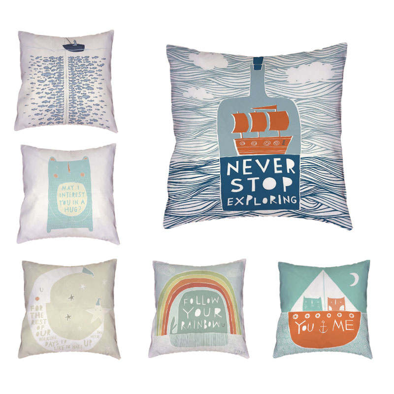 Mediterranean Style Cushion Cover Rafting Bottle Rainbow Fish Boat Moon Cat Design Sea View Home Sofa Chair Bed Decor Pillowcase