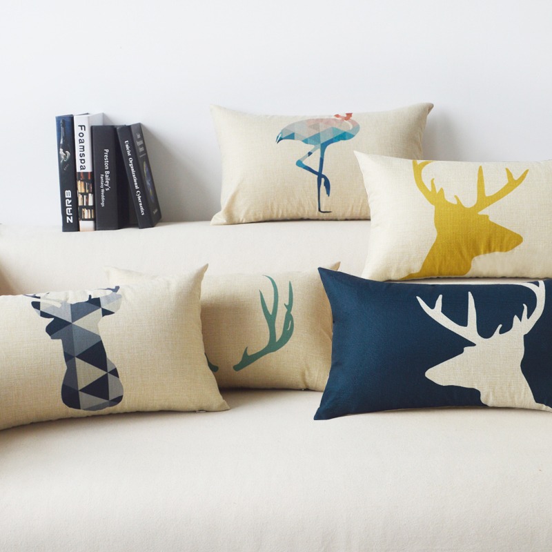 Decorative Home Textile deer Flamingos Cushion Cover Lumbar pad almohada soft seat car linen suit cushion pillowcase 30x50 BO-3