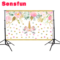 Vinyl Floral Flower Newborn Backdrops Cartoon Unicorn Photography Background Studio Photo Props 5x3ft