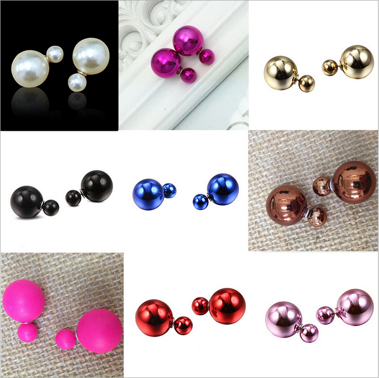 2019 New Candy Colour Earrings Ball Shape Plastic Stud Earring Double-sided pearl Colored ear studs