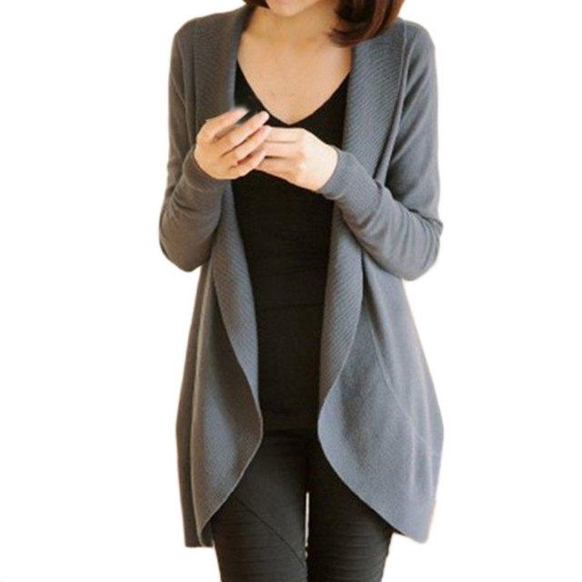 Moda Mulheres Casual Camisola De Malha Manga Comprida Brasão Jacket Outwear Tops Cardigan Feminino