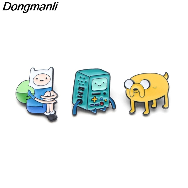 P2193 Dongmanli cartoon New Adventure Time Figure Pins & Brooches Finn and Jake The Dog Enamel badge Kids Gift jewelry