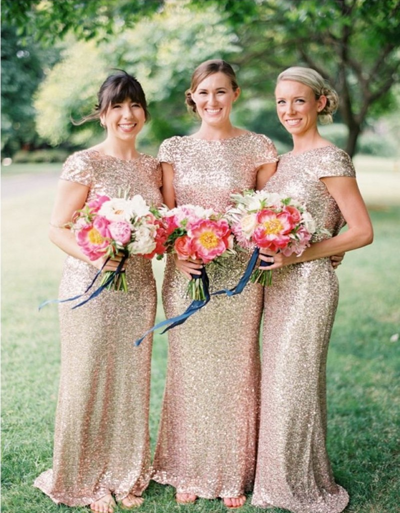 Gold Mermaid Bridesmaid Dress Peach Ivory Pink Champagne Red Silver Yellow Long Sequined Dresses Fast Shipping In From