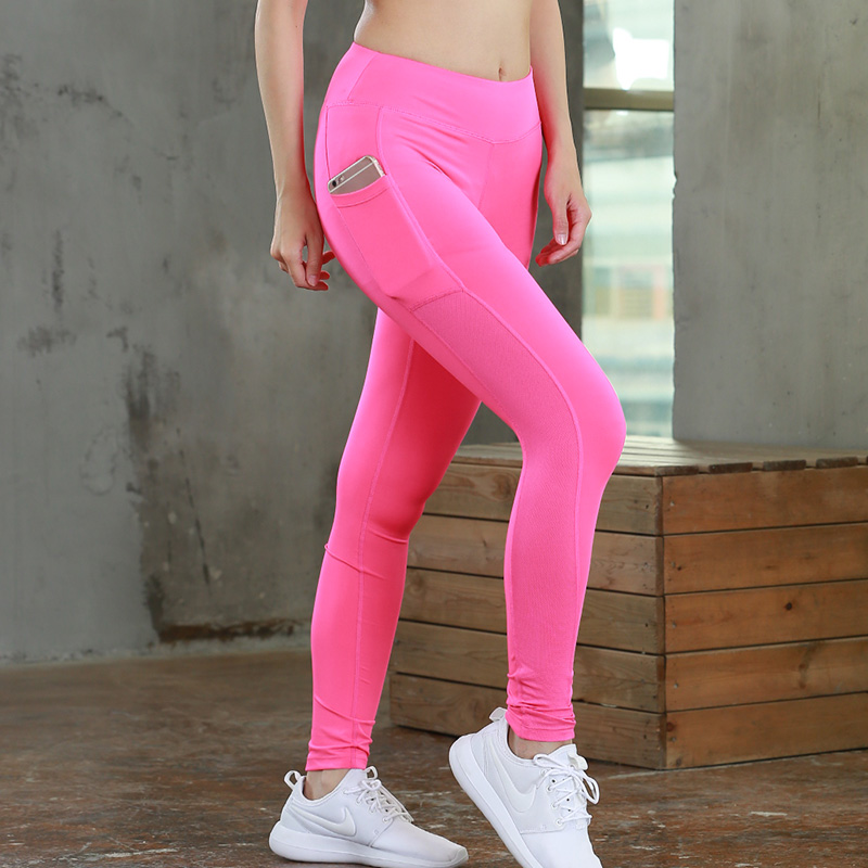 2018 Sexy Girls Pocket Gym Long Yoga Jogging Pants Sports Trousers Women Compression Running Pants Skinny Fitness Tight Leggings