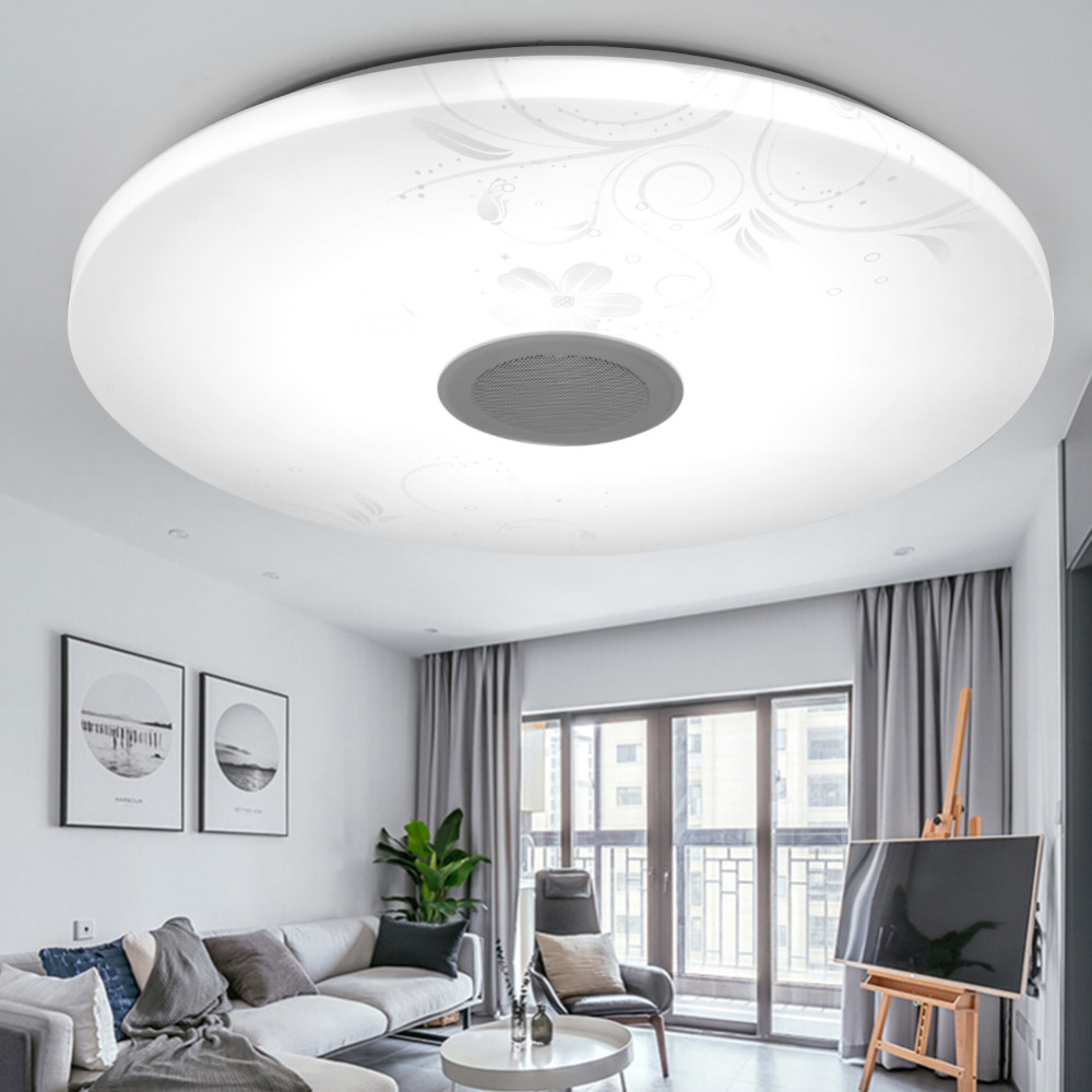 Iminovo Modern Bluetooth Speaker Music Ceiling Light 24W Remote ...
