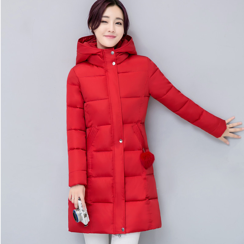Womens Winter Jackets And Coats Hot Sale 2017 Winter New Large Size Women's Cotton In The Long Section Of Hooded Clothing Thick sky blue cloud removable hat in the long section of cotton clothing 2017 winter new woman