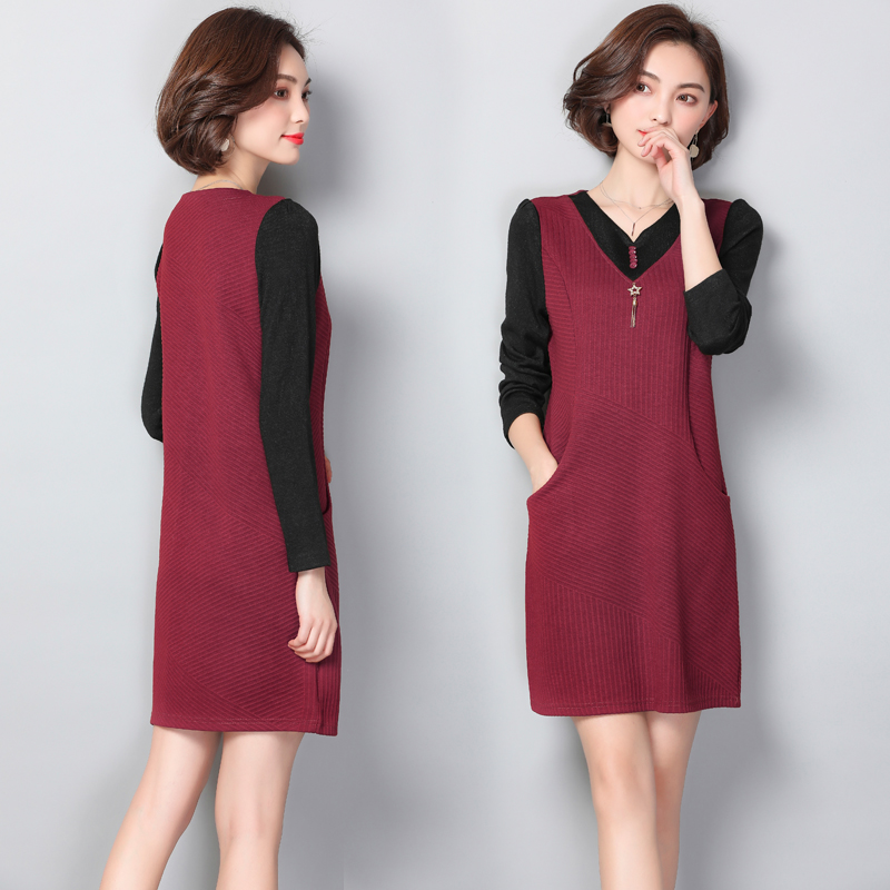 Plus Size 2018 New Women dress Full Sleeve Loose Two 40 50 Years Old Mother  Hypocrisy Dresses Army Green Wine Red 6729-in Dresses from Women s Clothing  on ... f5bcdac34a1e