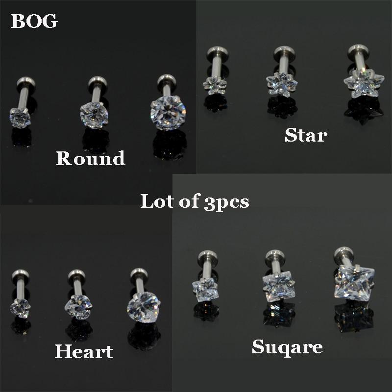BOG Lot 3pcs16G CZ Gem Crystal Tragus Helix Bar Cartilage ...