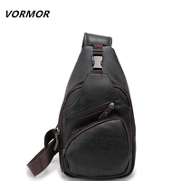 VORMOR Brand Theftproof Magnetic Button Open Leather Mens Chest Bags Fashion Travel Crossbody Bag Man