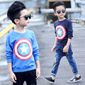 fashion 2017 captain america t shirt kids boys t shirt long sleeve tee tops clothing children boy T-shirts clothes 8 10 12 years