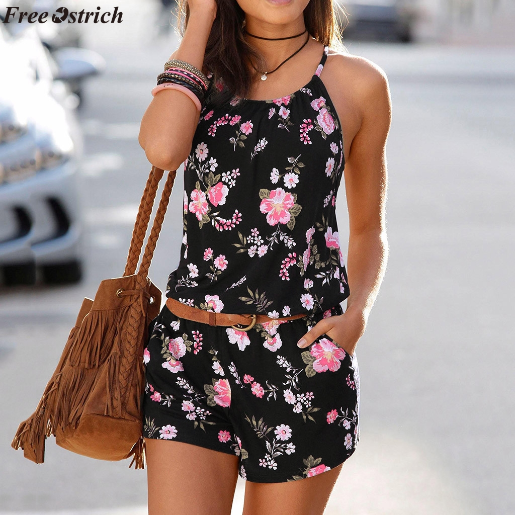 FREE OSTRICH Women's Summer Sling Short Jumpsuits O neck Fashion Printeddies Beach Casual Backless Slim Rompers Plus Size
