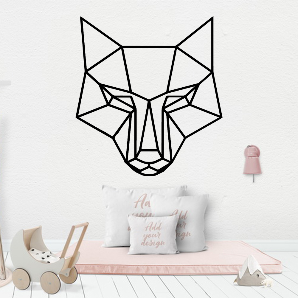 Funny Geometry Wolf Decal Removable Vinyl Mural Poster Stickers In The Kitchen Wall Art Sticker Murals