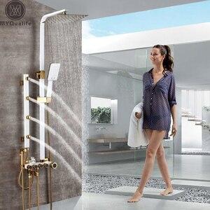 Image 1 - Złoto biała bateria natryskowa w prysznic ścienny System mieszający opady deszczu głowica prysznicowa korpus z mosiądzu strumień masujący prysznic zestaw Swive Spout