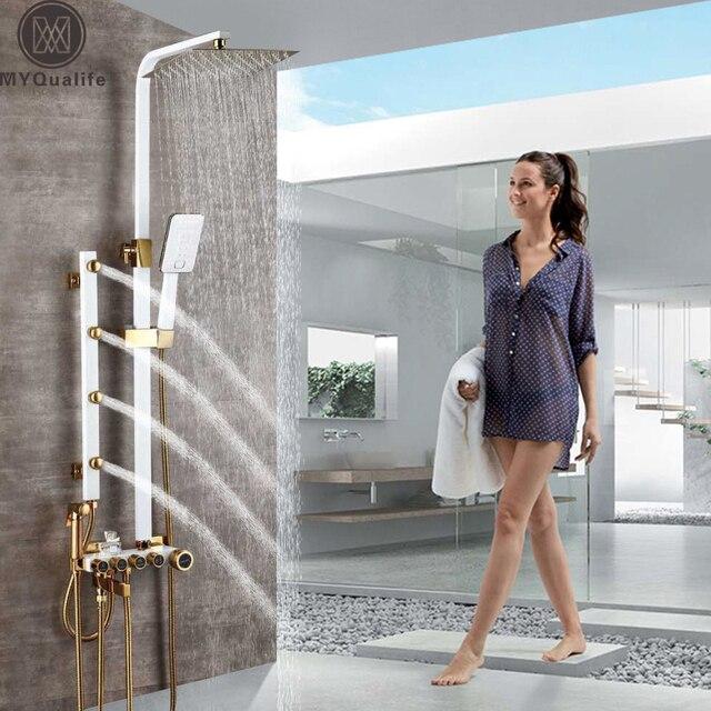 Złoto biała bateria natryskowa w prysznic ścienny System mieszający opady deszczu głowica prysznicowa korpus z mosiądzu strumień masujący prysznic zestaw Swive Spout