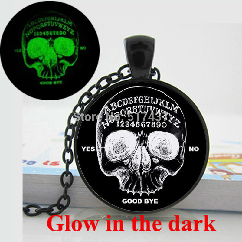 Glow in the dark Necklace Pendants Ouija Board Skull Round necklace Skull necklace Art Photo Glass Dome Glowing Jewelry