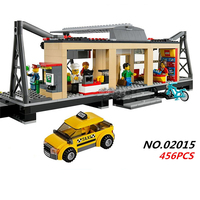 456Pcs Lepin 02015 City Trains Train Station With Rail Track Taxi Building Block Set Boys Model