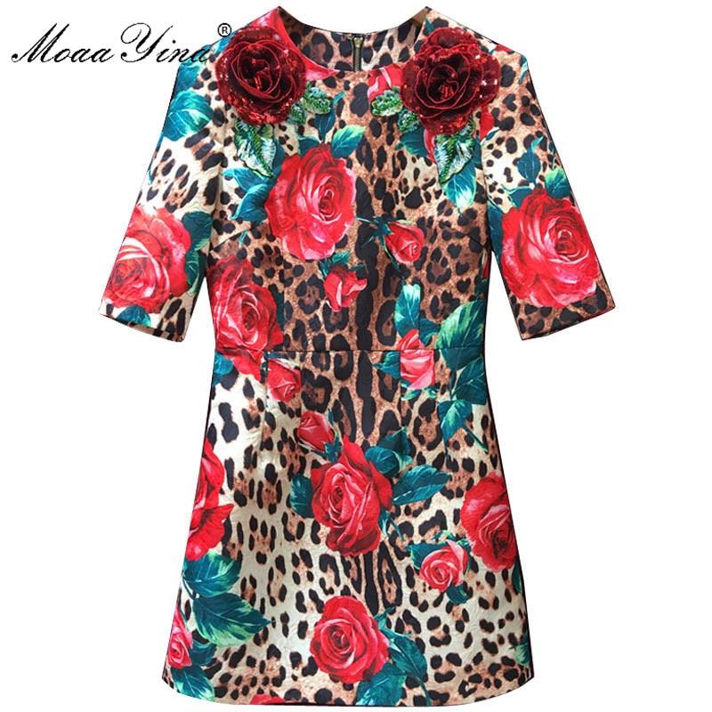 MoaaYina Sexy été femmes robe Vintage imprimé léopard Rose en trois dimensions fleur broderie demi manches robes Vestidos