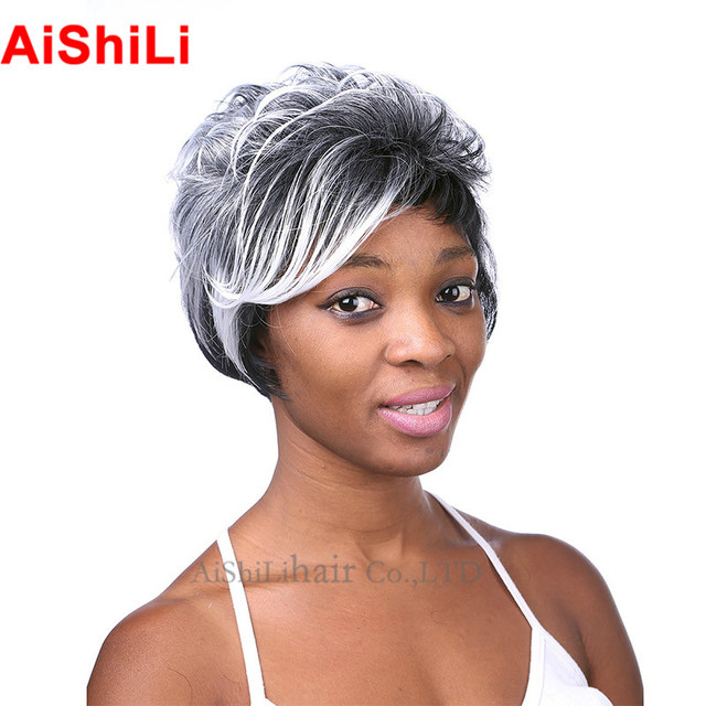 Aishili Short Wig Hair Styles Black And Platinum Blonde Color