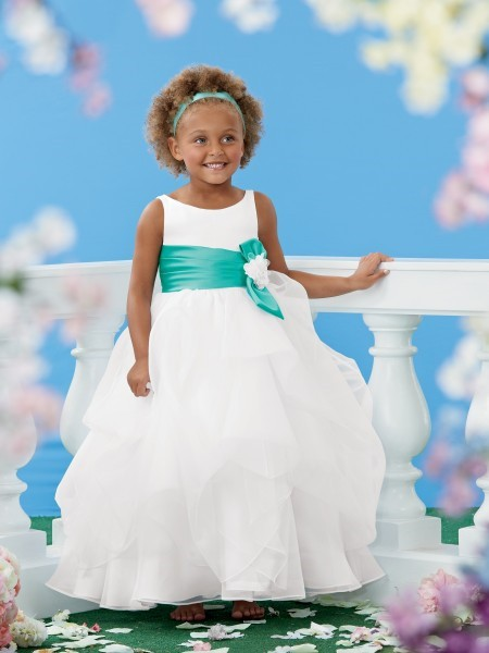 New Lovely Ball Gown   Girl's   Pageant   Dresses   Scoop Sash Draped Bow Organza   Flower     Girl     Dresses   Formal Party Gowns L419