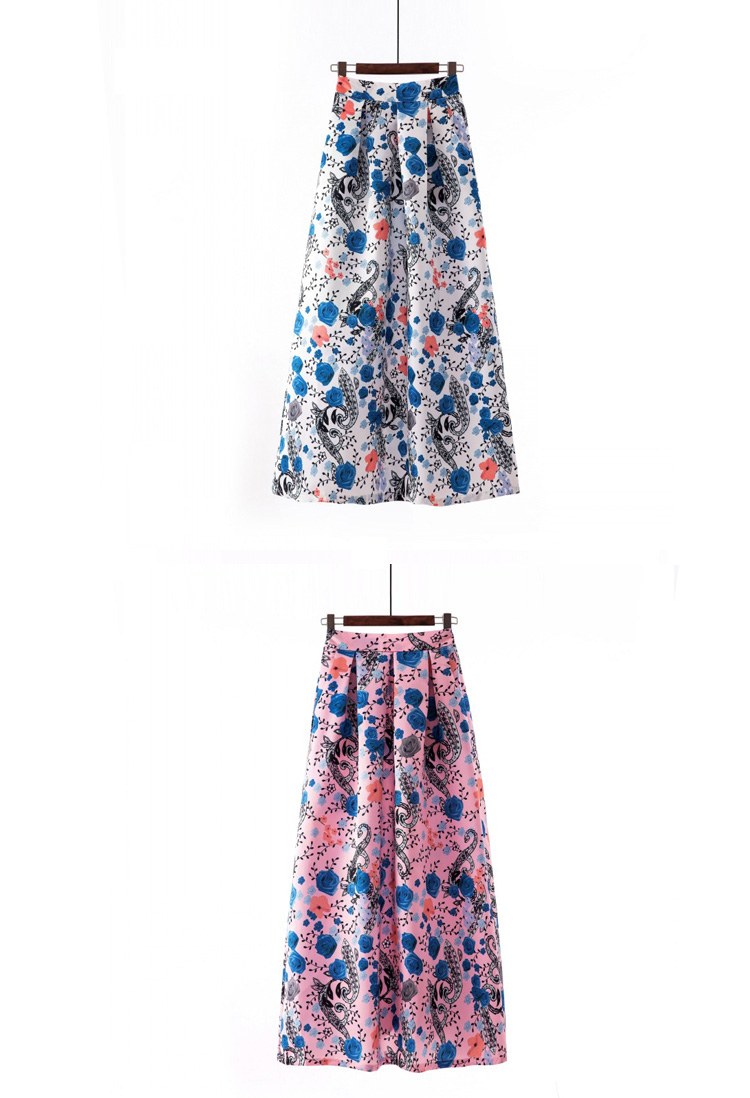 Plus size Maxi Skirt Summer Fashion Vintage High Street A-line High Waist Floral Polka Dot Long Skirts for Women 2020 Jupe Longa 35