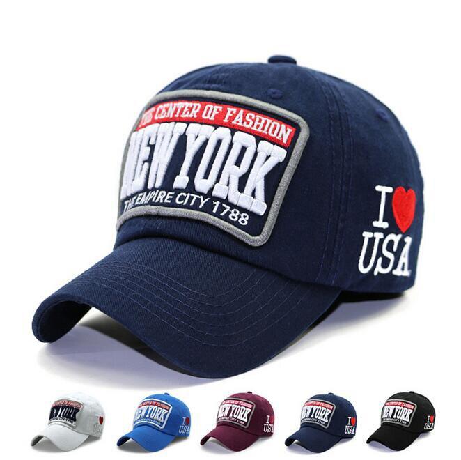 Prix pour Casual Réglable Coton Chapeau Snapback Sports de Plein Air Imprimer J'aime USA lettre NEW YORK Gorras Hip Hop Hommes Femmes NY Casquette de baseball