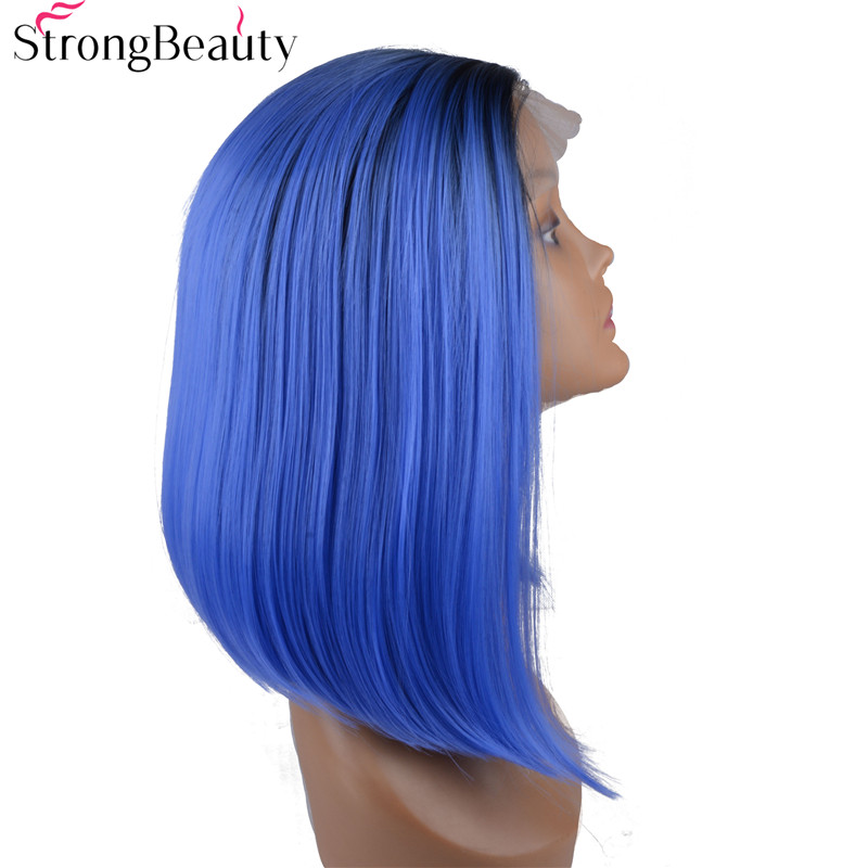 StrongBeauty Synthetic Lace Front Blue Wigs Medium Length Straight Hair Heat Resistant Fiber Womens Full Wig