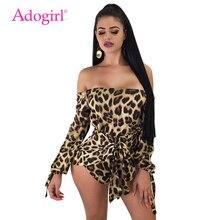 Adogirl Leopard Print Women Playsuits Sexy Slash Neck Off Shoulder Long Sleeve Night Club Rompers Fashion