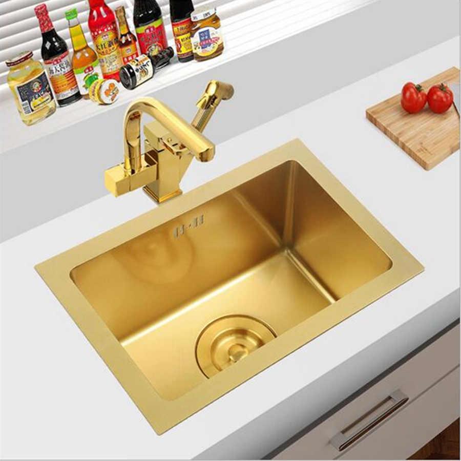 Brushed Gold Kitchen Sink Sus304 Stainless Steel Under Mount Kitchen Towel Undermount Basket Strainer Single Bowel Kitchen Sinks Aliexpress
