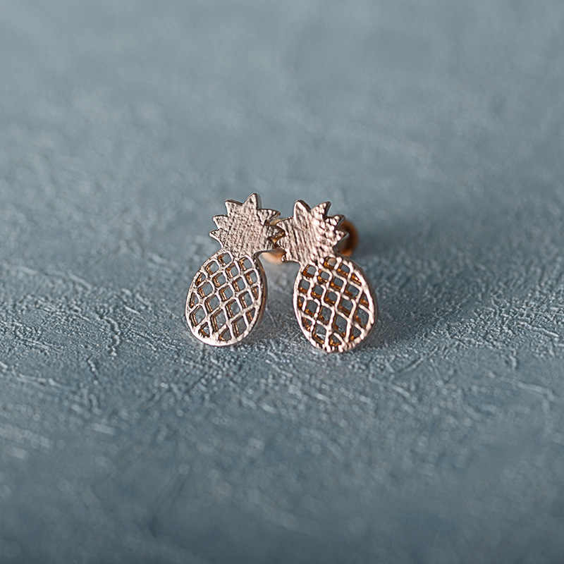 Simple Hollow Pineapple Stud Earrings for Women Korean Fashion Exquisite Cute Metal Accessories 3 Color Stud Earrings Jewelry
