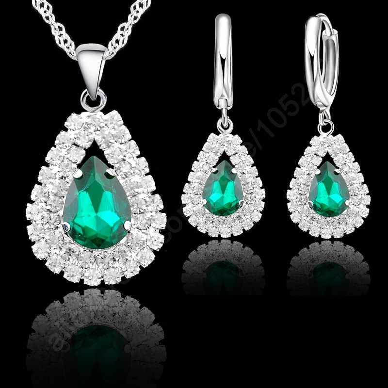 Top Quality 925 Sterling Silver Jewelry Sets For Women Water Drop Russian Style Wedding Pendant Necklace Hoop Earrings Set