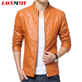 LONMMY Men casual jacket suede Plus size leather coat men Winter mens leather jackets and coats Plaid PU Stand collar 2016