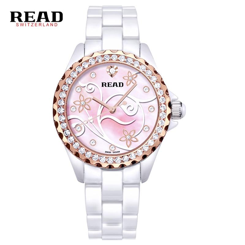 2017 READ Fashion Ladies Watch Best Ceramic Women Quartz Watch Luxury Clock Casual Elegant Classic Female Quartz watch read watch women watch quartz female da vinci series r7003l