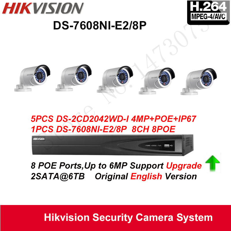 Hikvision Security Camera System 4MP Mini Bullet IP Camera 5pcs DS-2CD2042WD-I POE IP67 with 8ch POE NVR DS-7608NI-E2/8P 2SATA
