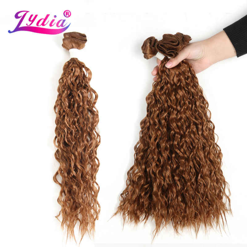 """Лидия для черный Для женщин синтетический фигурные переплетения 3packs/lot 20 """"природа Цвет вода волна Волосы Связки Джерри curl Химическое наращивание волос"""