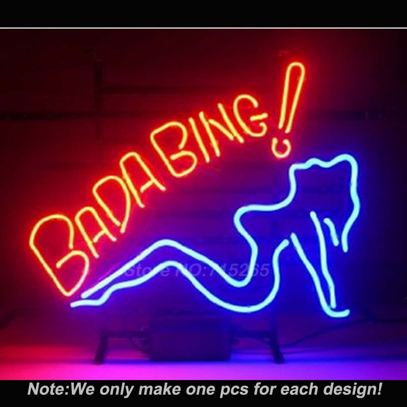 Bada Bing Girl Neon Sign Neon Light Sign Glass Tube Handcraft Neon Bulbs Beer Bar Pub Recreation Room Sign Flashlight VD17x14