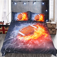 Home Textiles Rugby Bedding Set Queen King Size Water And Fire Black Duvet Cover Set Quilt Cover Pillowcase Comforter Cover 3Pcs unicorn comforter bedsheet color by art bedding set roses gray duvet cover floral bed set 3pcs home textiles