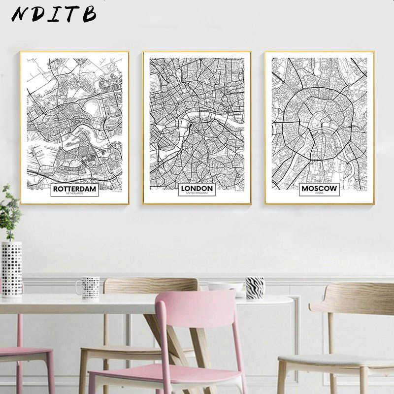 Black White Rotterdam London New York Capital City Map Canvas Poster Wall Art Print Painting Nordic Decorative Picture Decor