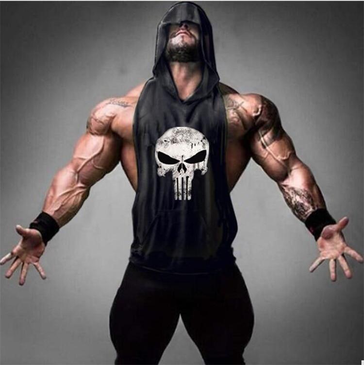 New Gym Muscle Bodybuilding Black Leather Fitness Lifting: Skull Golds Bodybuilding Stringer Tank Tops Men Gyms