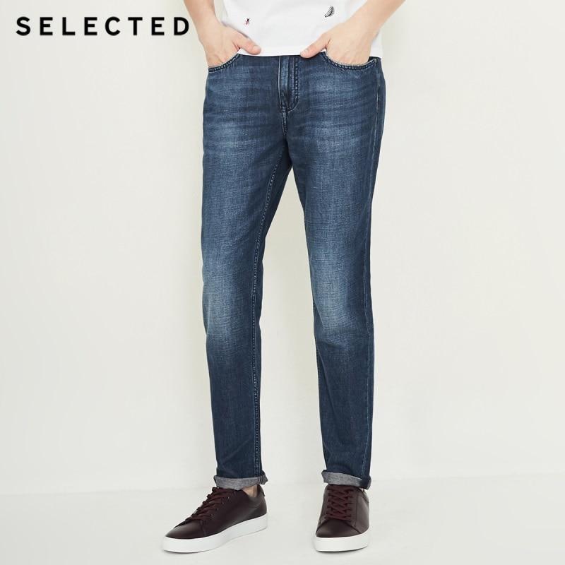 Отборные мужские новые хлопковые и льняные повседневные потертые джинсы C | 418332513 - Цвет: MID BLUE DENIM