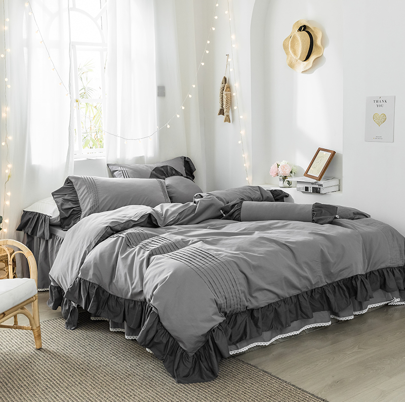 3/5 Pieces Vintage Ruffle Duvet Cover Pillow Shams Set 100%Cotton King Full Queen Size Solid Color Bedding Set For Girls Bed Set