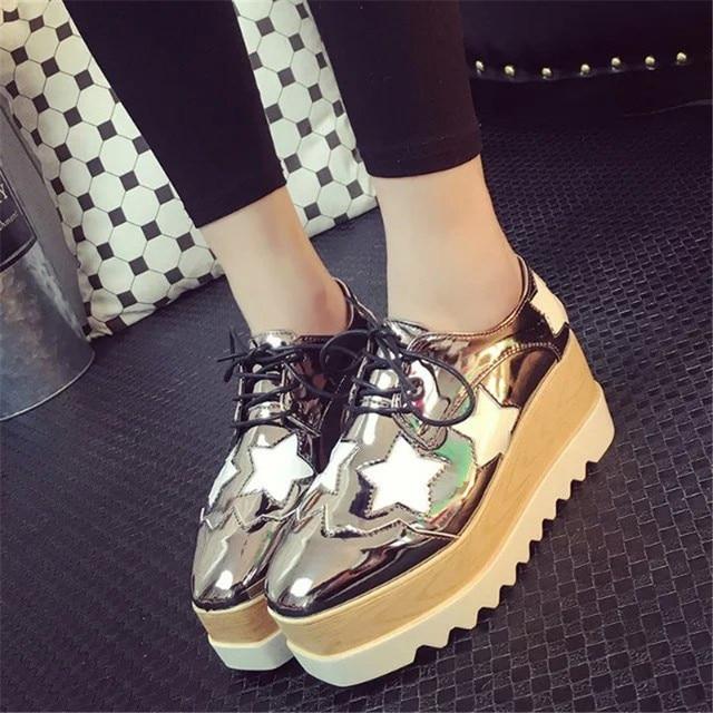 659b9e03fc9 Woman gold shoes platform shoes creepers japanned leather woman shiny flats  star designer espadrilles brogue jpg