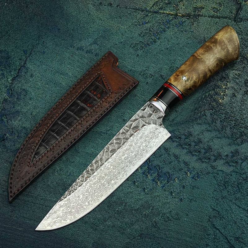 "FZIZUO 7"" Professional Damascus Steel Chef's Knife Japanese Cleaver Vegetable Knives Handmade Kitchen Knife with Leather Sheath"