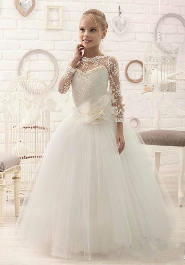 New custom white ivory sheer lace long sleeves flower girl dresses elegant tulle first communion gown formal occasion 2017 new