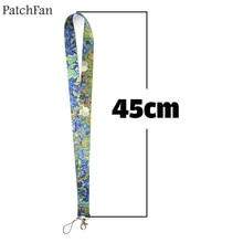 A0261 Patchfan Van Goghs paintings Irises Key Lanyard ID Badge Holders Phone USB Neck Straps webbing