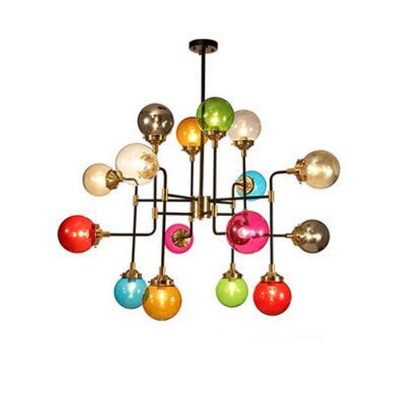 Vintage Creative Loft Industry Colorful Modo Iron Glass Led E27 Pendant Light for Living Room Dining Room Lamps 8/16 Heads 1576 post modern gold iron glass modo pendant light for living room dining room bedroom 12 16 24 heads 1233